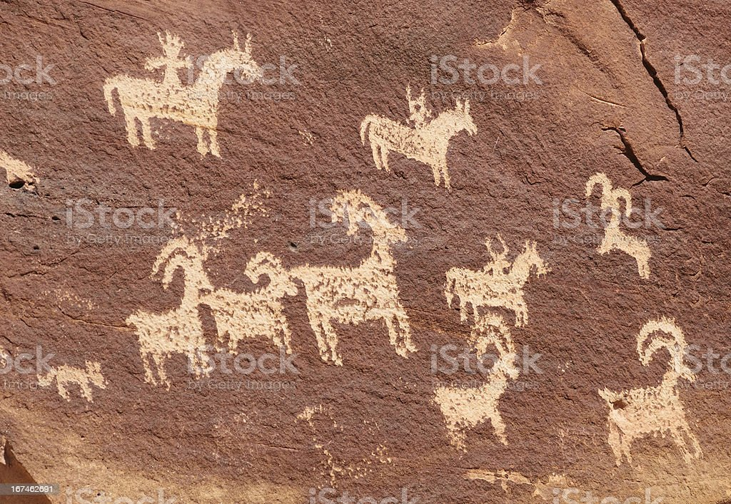 Ute Petroglyphs in Arches National Park stock photo