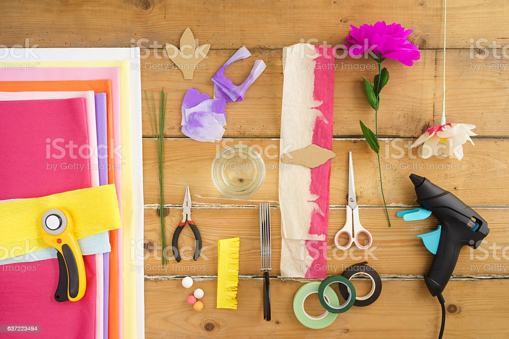Utensils for making paper flowers stock photo
