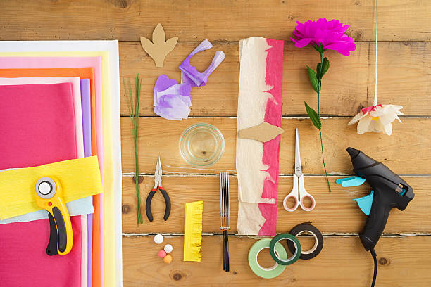utensils for making paper flowers - art and craft stock pictures, royalty-free photos & images