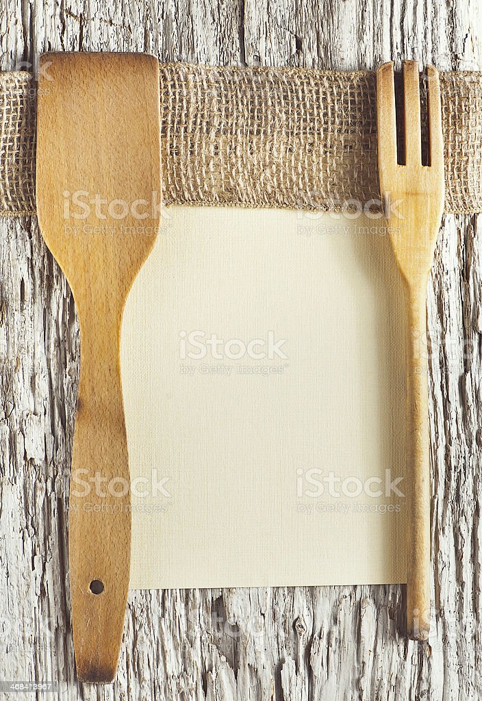 Utensils, sheet of paper and ribbon stock photo