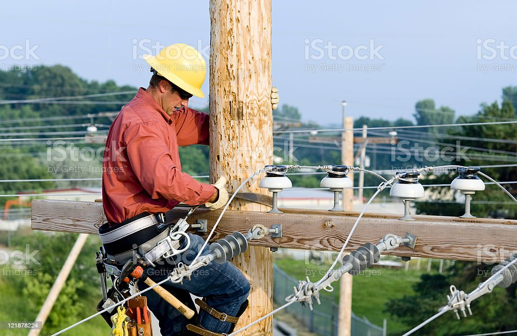 Utility Lineman stock photo