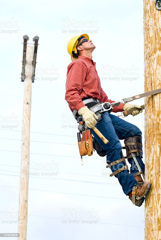 Utility Lineman royalty-free stock photo