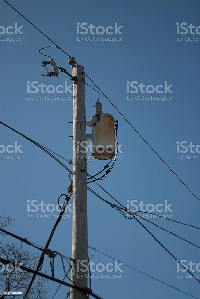 Utility Pole With Large Capacitor And Wires Stock Photo & More ...