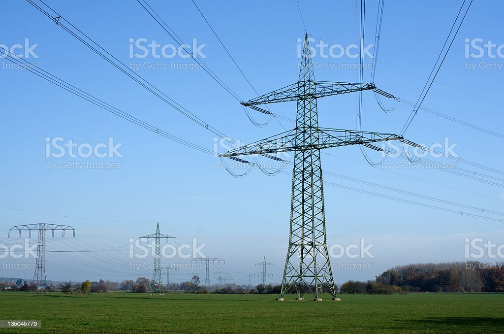 Utility pole with wires stock photo