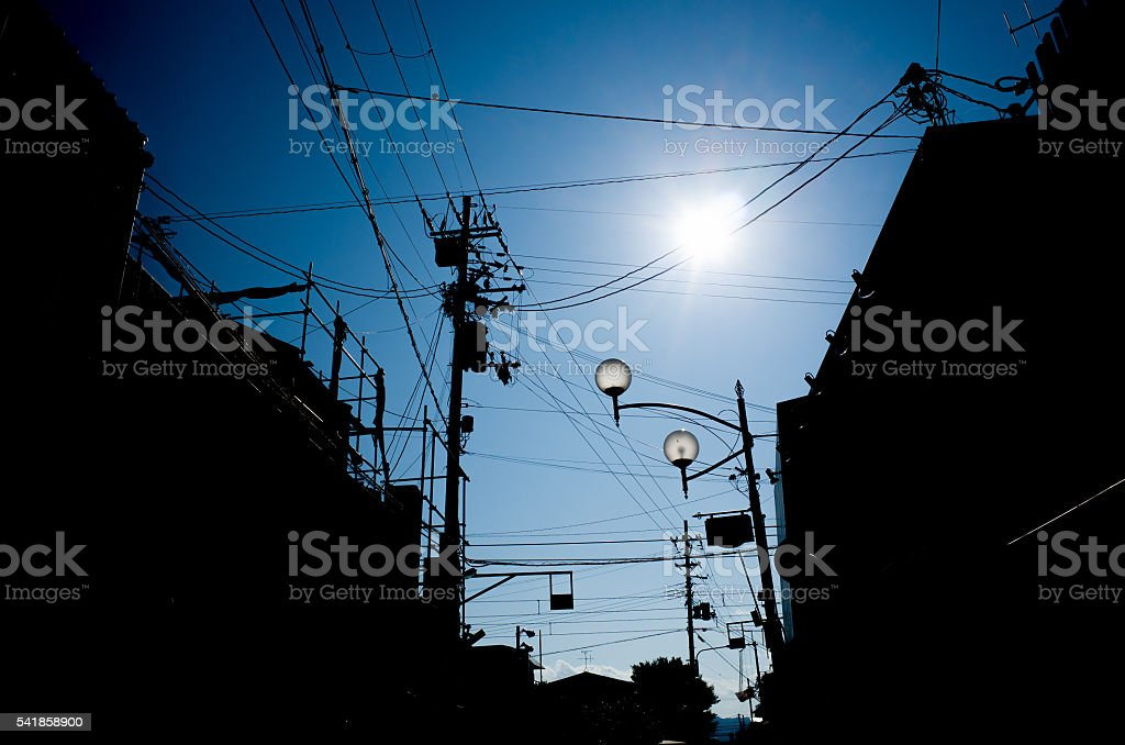 Utility Poles Japan Overhead Electricity and Telephone Cables stock photo