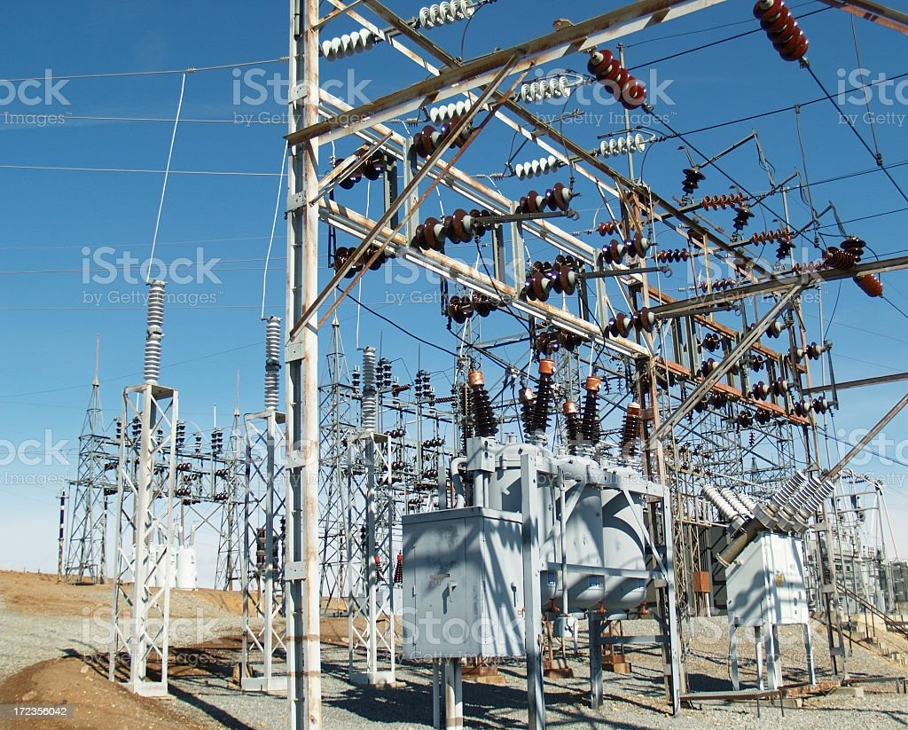 Utility Power Station High Voltage Electric Plant stock photo