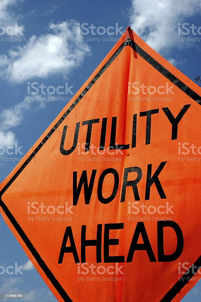 Utility Work Ahead royalty-free stock photo