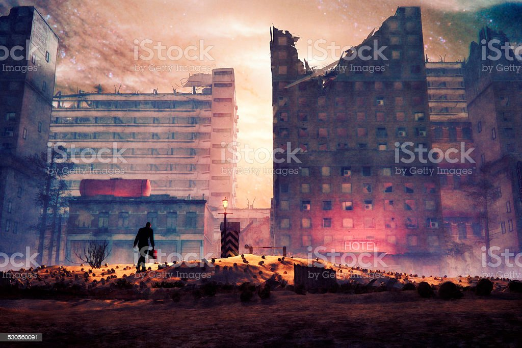 Utopian businessman walking to the job, destruction, apocalypse stock photo