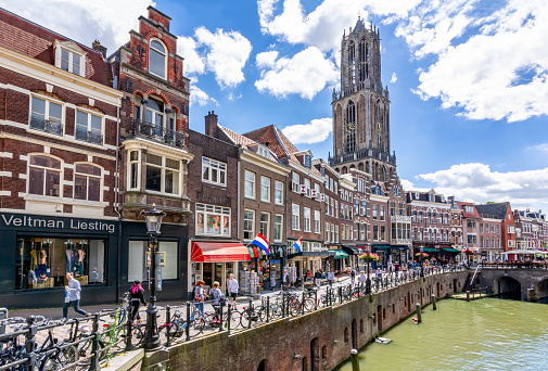 Utrecht canals and Dom tower on a summer day, Netherlands