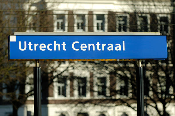 utrecht centraal railway station sign - place sign stock pictures, royalty-free photos & images