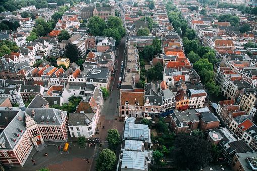 Utrecht Netherlands aerial view city panoramic cityscape