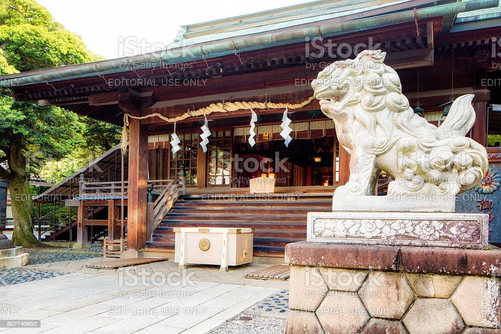 Utsunomiya Futarasan Shrine with shisa statue stock photo