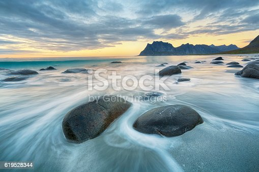 Lofoten is an archipelago and a traditional district in the county of Nordland, Norway. Lofoten is known for a distinctive scenery with dramatic mountains and peaks, open sea and sheltered bays, beaches and untouched lands.