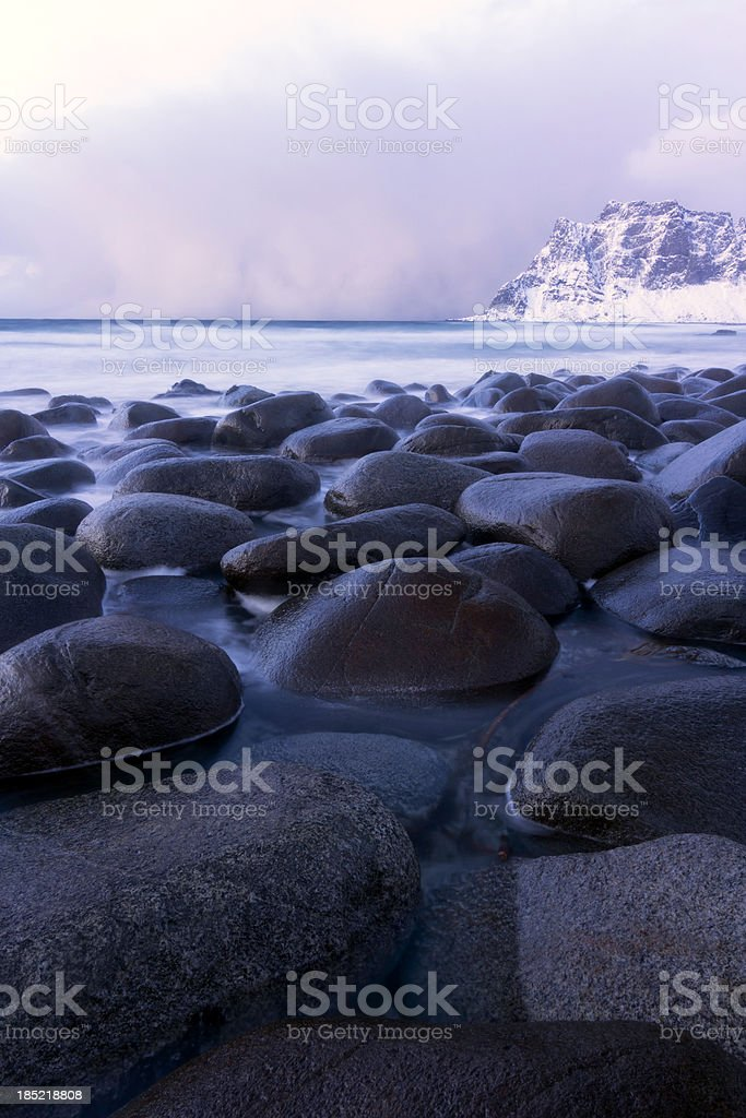 Uttakleiv Beach with Sunset Clouds royalty-free stock photo