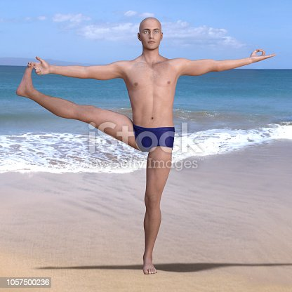 Yoga man in utthita hasta padangusthasana or extended hand-to-big-toe pose on a sandy beach. Square 3d render.