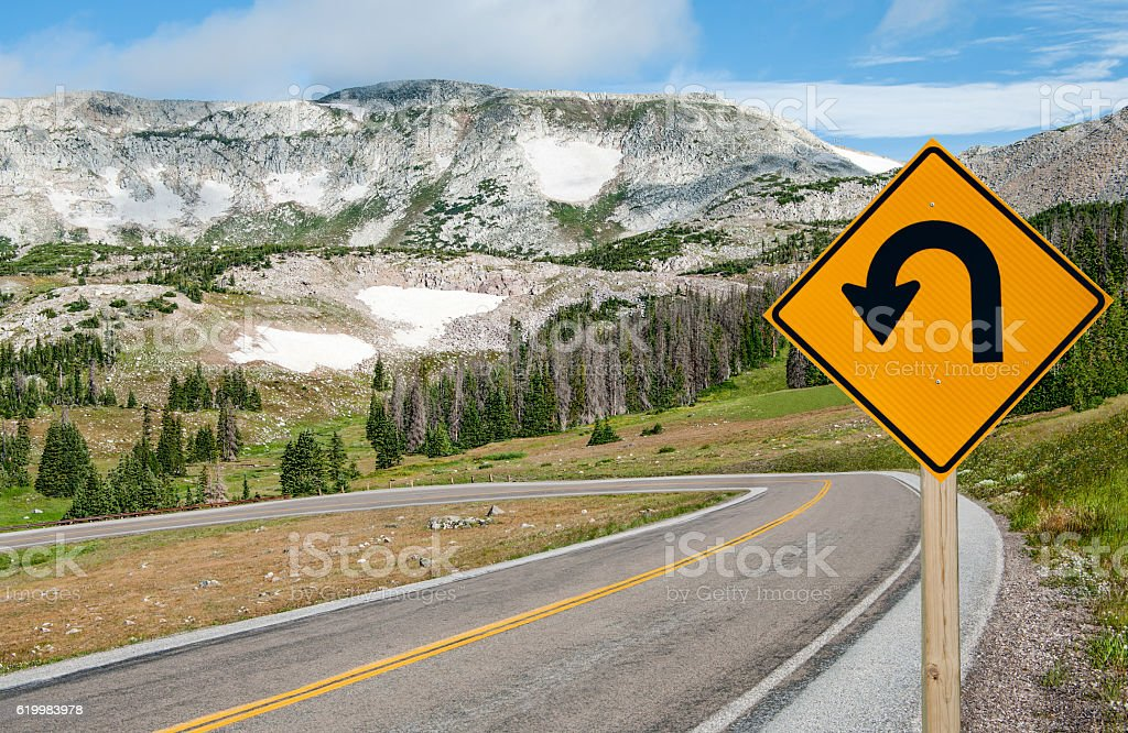 U-Turn Sign stock photo