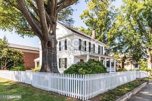Salisbury, NC, USA-1 September 2019:  The Utzman-Chambers house, an 1819 Federal townhouse, built by Jacob Stirewalt, stands on Jackson St. in downtown Salisbury.