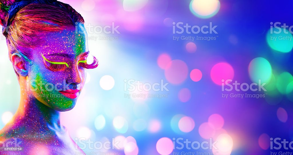 Uv Woman Portrait stock photo