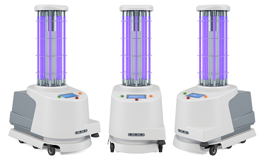 UV-Disinfection Robot, 3D rendering isolated on white background