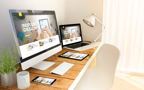 ux design website responsive concept on devices stock photo