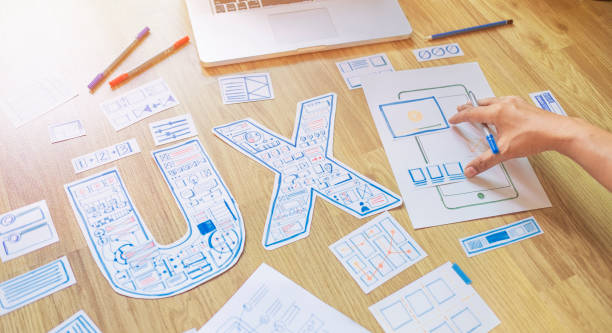 ux designer creative prototype Graphic planning application development for web mobile phone . User experience concept. stock photo