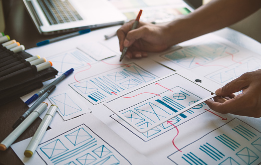 istock ux Graphic designer creative  sketch planning application process development prototype wireframe for web mobile phone . User experience concept. 1164721436