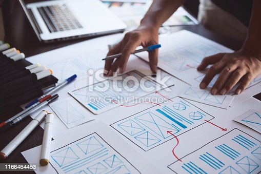 1169087529 istock photo ux Graphic designer creative  sketch planning application process development prototype wireframe for web mobile phone . User experience concept. 1166464453