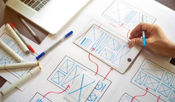 ux grafikdesigner kreative skizze planung anwendung prozess entwicklung prototyp wireframe für web-handy . benutzererfahrungskonzept. - prototype stock-fotos und bilder