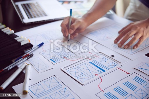 1169087529 istock photo ux Graphic designer creative  sketch planning application process development prototype wireframe for web mobile phone . User experience concept. 1170723979