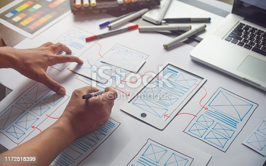 1169087529 istock photo ux Graphic designer creative  sketch planning application process development prototype wireframe for web mobile phone . User experience concept. 1172518399