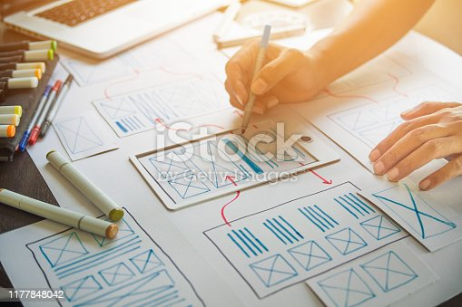 1169087529 istock photo ux Graphic designer creative  sketch planning application process development prototype wireframe for web mobile phone . User experience concept. 1177848042