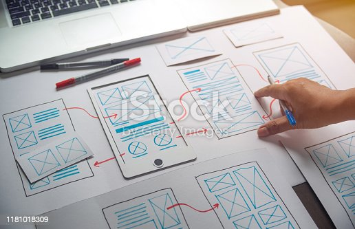 1169087529 istock photo ux Graphic designer creative  sketch planning application process development prototype wireframe for web mobile phone . User experience concept. 1181018309