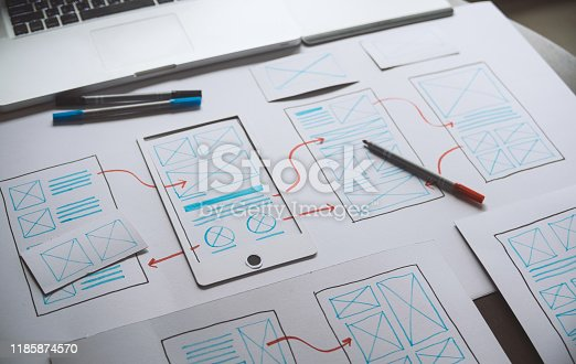 1169087529 istock photo ux Graphic designer creative  sketch planning application process development prototype wireframe for web mobile phone . User experience concept. 1185874570