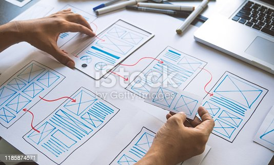 1169087529 istock photo ux Graphic designer creative  sketch planning application process development prototype wireframe for web mobile phone . User experience concept. 1185874571