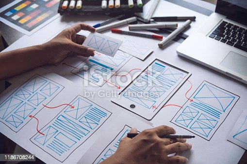1169087529 istock photo ux Graphic designer creative  sketch planning application process development prototype wireframe for web mobile phone . User experience concept. 1186708244
