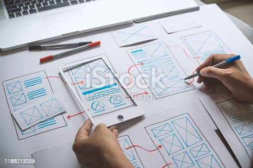 1169087529 istock photo ux Graphic designer creative  sketch planning application process development prototype wireframe for web mobile phone . User experience concept. 1188213209