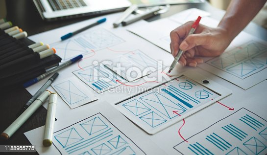 1169087529 istock photo ux Graphic designer creative  sketch planning application process development prototype wireframe for web mobile phone . User experience concept. 1188955775