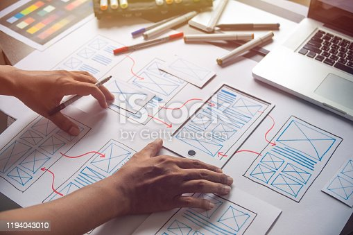 1169087529 istock photo ux Graphic designer creative  sketch planning application process development prototype wireframe for web mobile phone . User experience concept. 1194043010