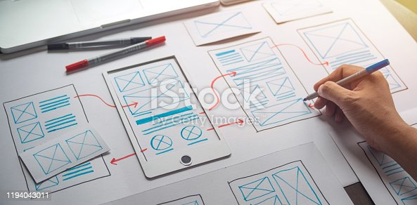 1169087529 istock photo ux Graphic designer creative  sketch planning application process development prototype wireframe for web mobile phone . User experience concept. 1194043011