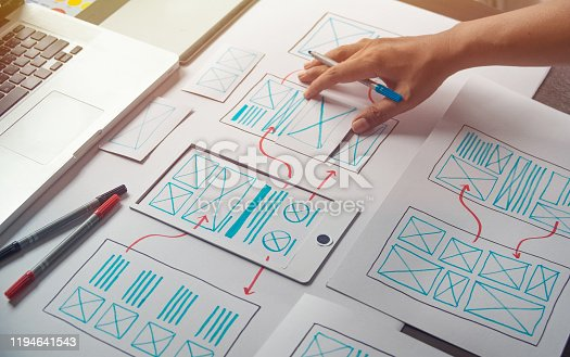 1169087529 istock photo ux Graphic designer creative  sketch planning application process development prototype wireframe for web mobile phone . User experience concept. 1194641543