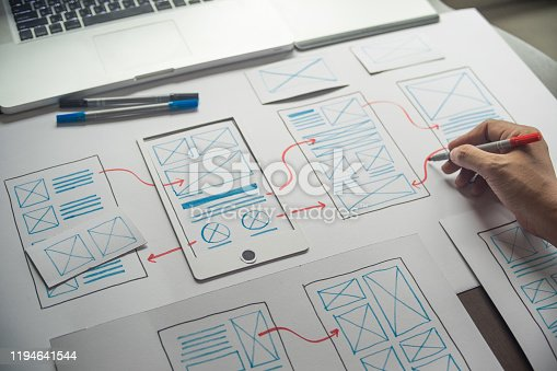 1169087529 istock photo ux Graphic designer creative  sketch planning application process development prototype wireframe for web mobile phone . User experience concept. 1194641544
