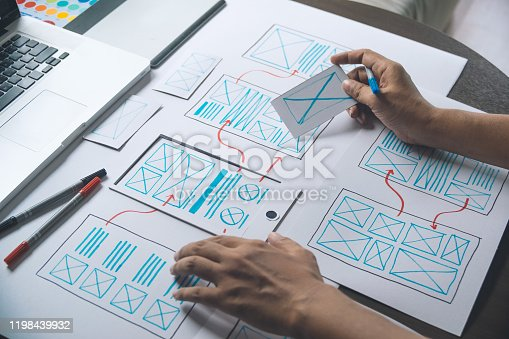 1169087529 istock photo ux Graphic designer creative  sketch planning application process development prototype wireframe for web mobile phone . User experience concept. 1198439932
