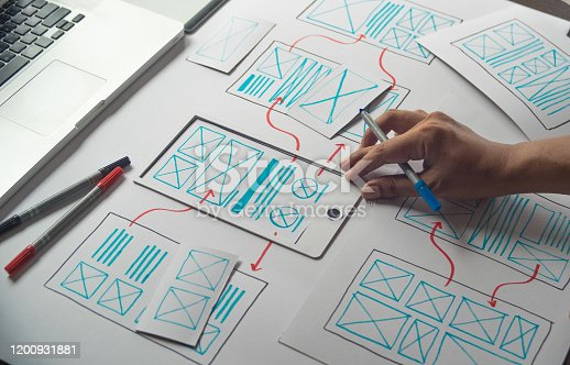 1169087529 istock photo ux Graphic designer creative  sketch planning application process development prototype wireframe for web mobile phone . User experience concept. 1200931881