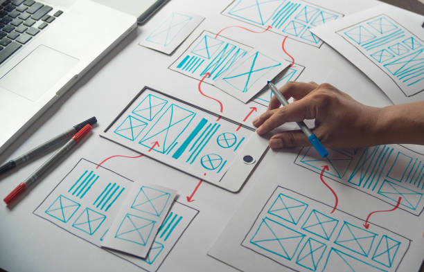 ux Graphic designer creative  sketch planning application process development prototype wireframe for web mobile phone . User experience concept. stock photo