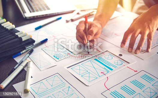 1169087529 istock photo ux Graphic designer creative  sketch planning application process development prototype wireframe for web mobile phone . User experience concept. 1202521574