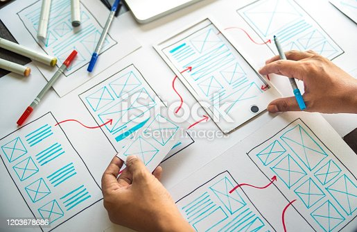 1169087529 istock photo ux Graphic designer creative  sketch planning application process development prototype wireframe for web mobile phone . User experience concept. 1203678686