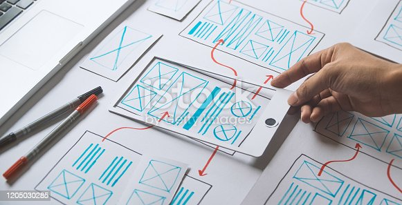 1169087529 istock photo ux Graphic designer creative  sketch planning application process development prototype wireframe for web mobile phone . User experience concept. 1205030285
