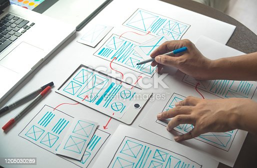 1169087529 istock photo ux Graphic designer creative  sketch planning application process development prototype wireframe for web mobile phone . User experience concept. 1205030289