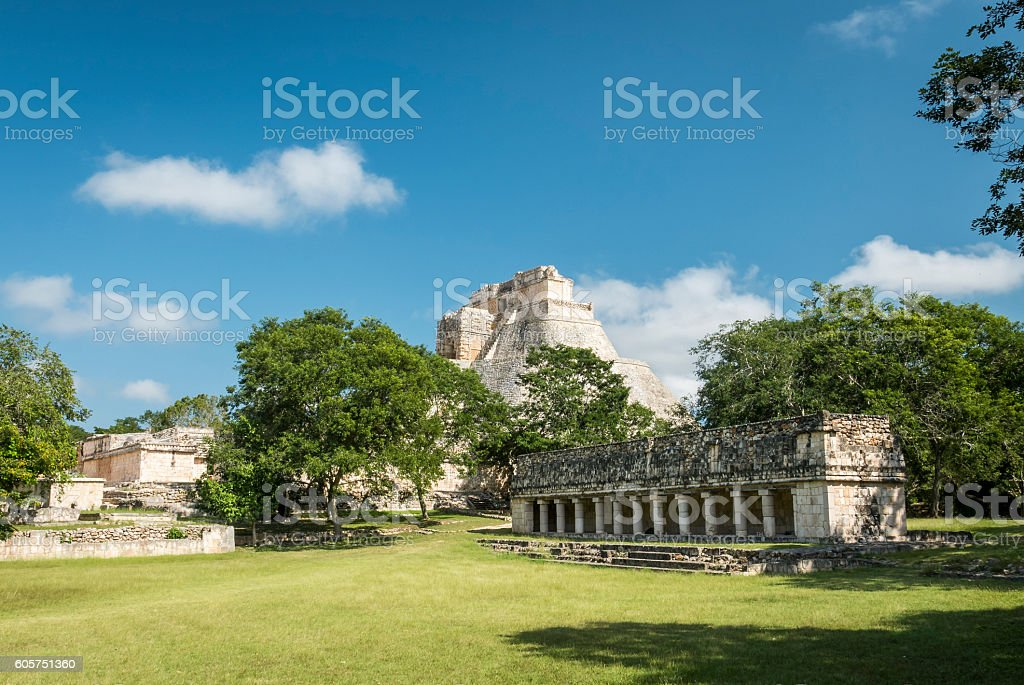 Uxmal archeological site, mayan ruins in yucatan, mexico stock photo