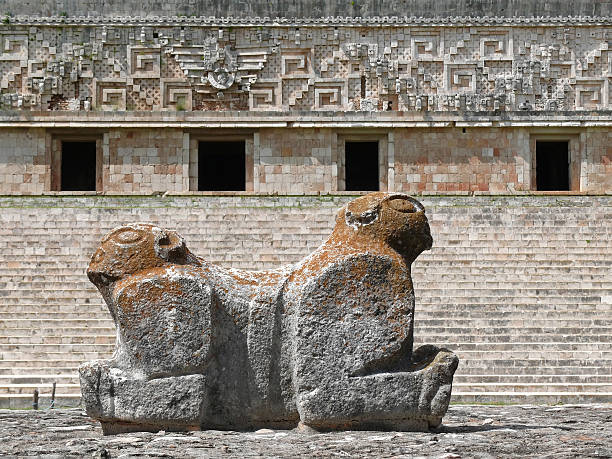 uxmal double headed maya statue - uxmal stock photos and pictures